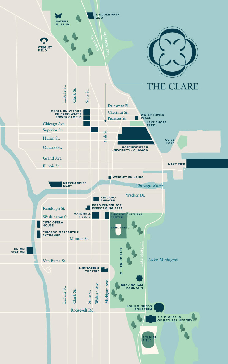 Whats Around The Clare In Downtown Chicago IL - Chicago map navy pier