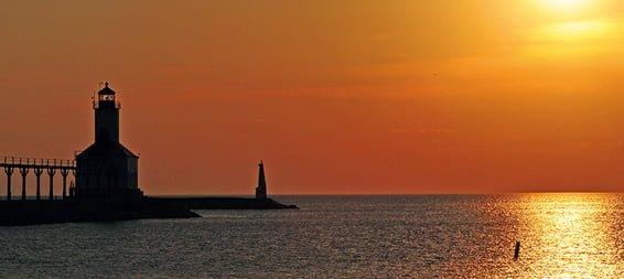 lake michigan horizon at sunset