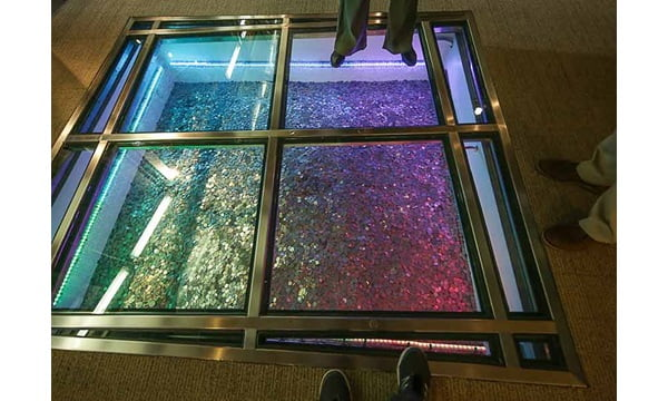 The Money Museum in Chicago features an elevator shaft filled with coins